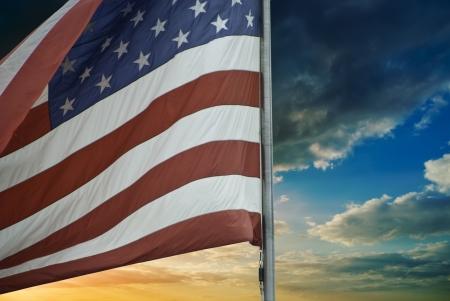 Tempête au-dessus du drapeau américain, États-Unis Banque d'images