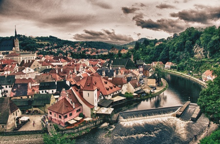 krumlov: Cesky Krumlov Medieval Architecture and its Vltava River, Czech Republic Editorial