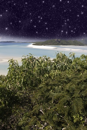 Starry Night in the Whitsunday Archipelago, Queensland, Australia Stock Photo - 10474453