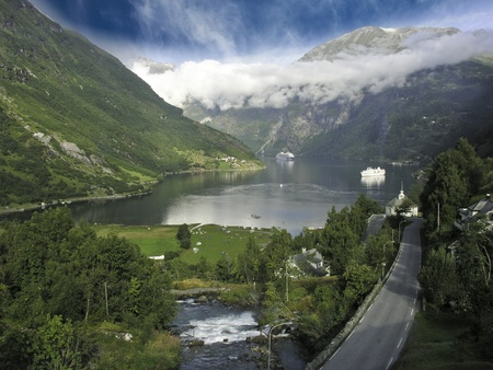 Nature of Geiranger Fjord, Norway photo