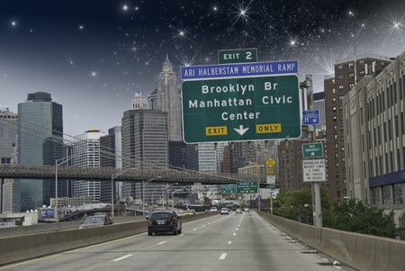 Entering New York City in a Starry Night, U.S.A. photo