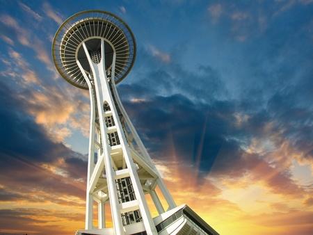 seattle: Puesta de sol sobre Seattle, Washington, EE.UU. Foto de archivo