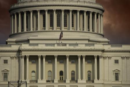 u s a: Sunset and Clouds over Washington Capitol, U S A