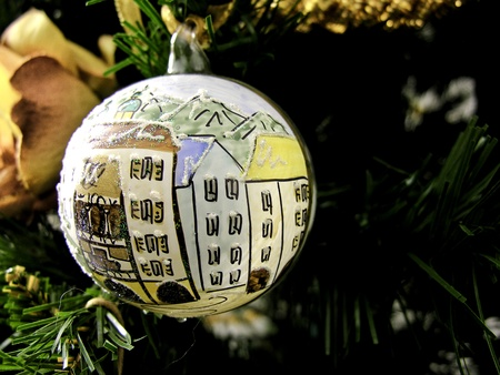 toygift: Macro of a Christmas Ball on the Tree, Italy