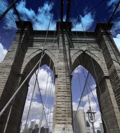 manhattan bridge: Detail of Brooklyn Bridge in New York City, U.S.A.