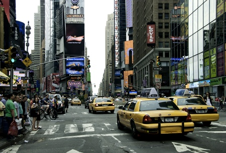 time square: Taxis in New York City Streets, U.S.A.