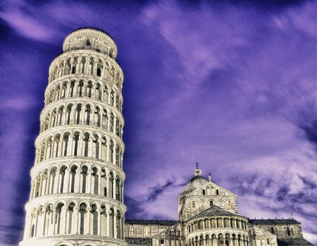 Tower of Pisa and Piazza dei Miracoli by Night photo