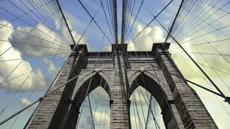 Sky over Brooklyn Bridge, New York City photo
