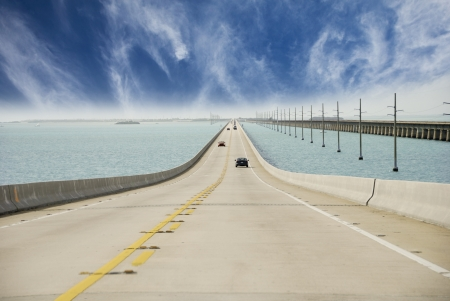 mile: Sky Colors on Overseas Highway, Florida Stock Photo