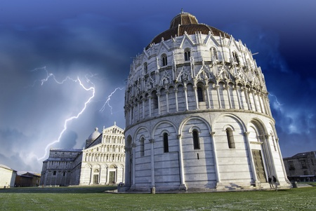 Colors of the Sky over Piazza dei Miracoli in Pisa, Italy photo