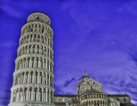 Colors of Piazza dei Miracoli at Night in Pisa, Italy photo