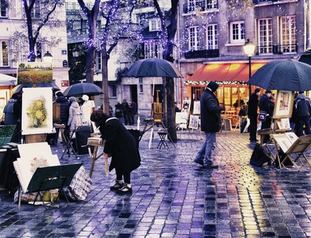 montmartre: Montmartre Quarter in Winter, Paris Editorial