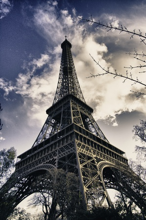View of Eiffel Tower in Winter, Paris photo