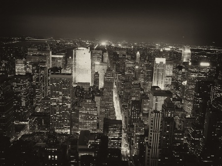 city by night: Night View of New York City from Empire State Building Stock Photo