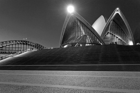 sydney harbour bridge: Sydney Harbour at Night, New South Wales, Australia