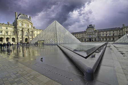 Storm over The Louvre in Paris, France