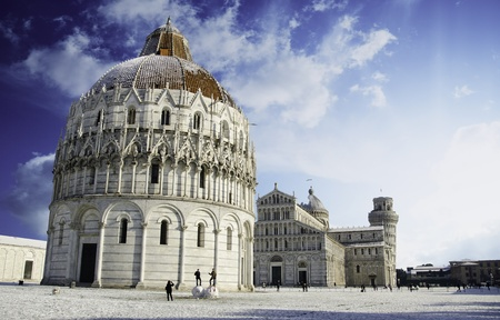 Baptistery in Piazza dei Miracoli after a Snowfall, Pisa, Italy photo