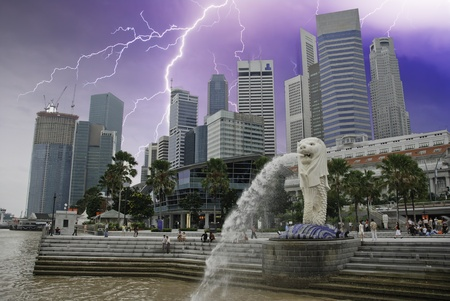 Storm over Singapore Skyscrapers