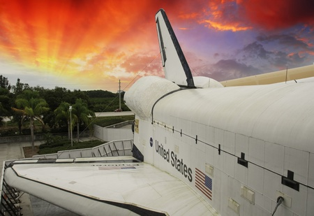 challenger: Sky colors over Space Shuttle, U.S.A. Editorial