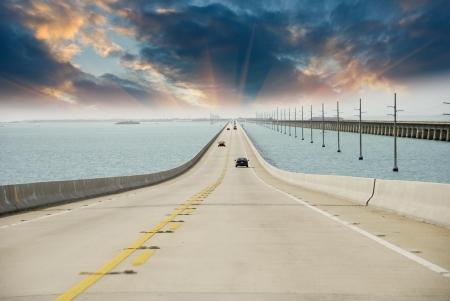 Sky Colors on Overseas Highway, Florida Stock Photo