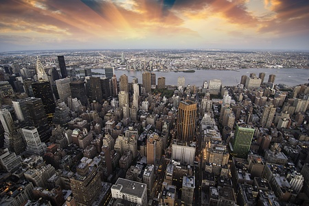 aerial view city: Sunset over New York City Skyscrapers, view from Empire State Building, U.S.A. Stock Photo