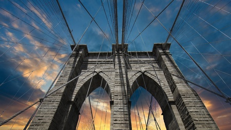 Sky over Brooklyn Bridge, New York City photo