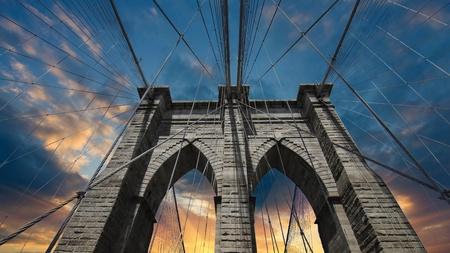 Sky over Brooklyn Bridge, New York City Stock Photo
