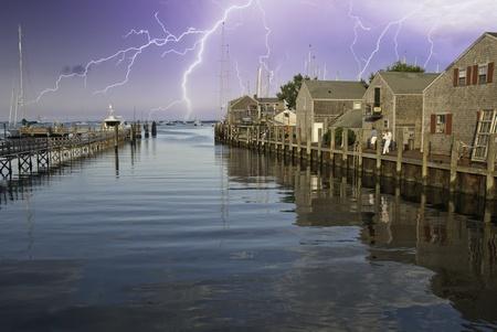 cape cod style: Storm approaching Nantucket Port in Massachusetts U.S.A.