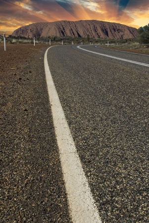 Road across Australian Outback in Northern Territory photo