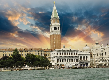 St Mark's Square from the Sea in Venice, Italy photo