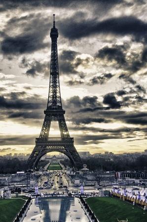 Barvy Eiffelova věž v zimě, Paříž Reklamní fotografie