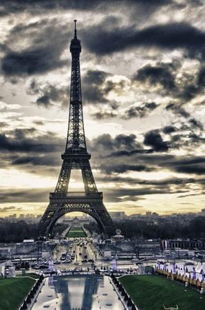 built tower: Colors of Eiffel Tower in Winter, Paris