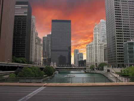 Chicago Skyscrapers over the River, Illinois, U.S.A. photo