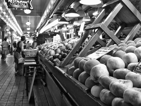 city fish market sign: Fruit in a Market of Seattle, Washington Stock Photo
