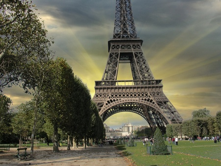 Eiffel Tower from Parc du Champs de Mars, Paris, France photo