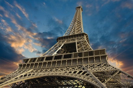 Bottom-Up view of Eiffel Tower at Sunset, Paris, France photo