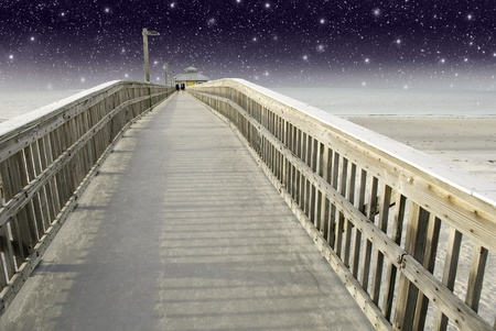 Starry Night over a Pier in Fort Myers, Florida, U.S.A. photo