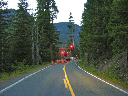 Traffic Lights near Mount Rainier, Washington photo
