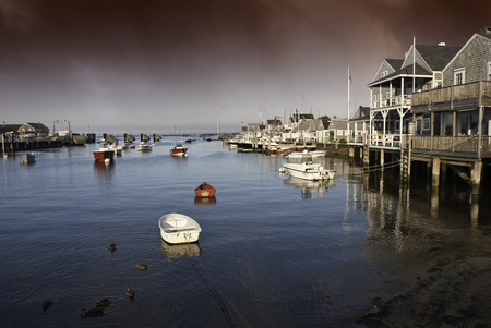 cape cod style: Homes over Water in Nantucket at Sunset, Massachusetts, U.S.A. Stock Photo