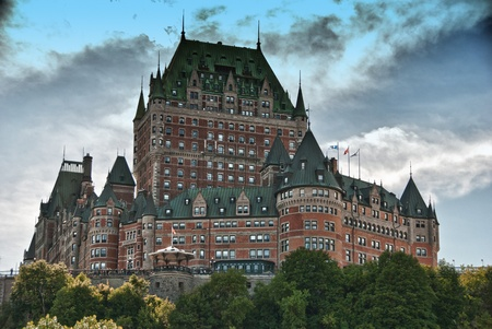 chateau: Majesty of Chateau de Frontenac, bottom view, Quebec City Editorial