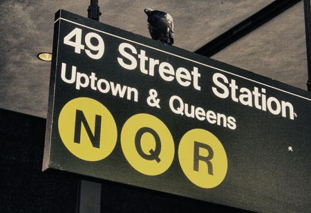 Subway Signs of New York City in Winter, U S A