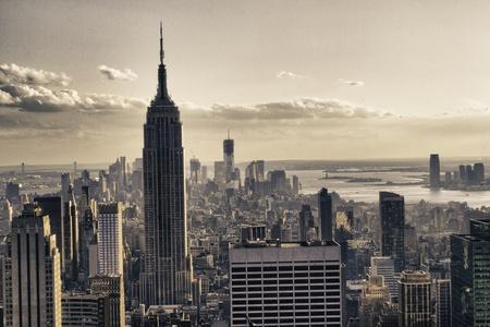 Wolkenkrabbers van New York City in de winter, USA Stockfoto