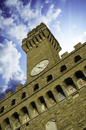 Bottom-Up view of Piazza della Signoria in Florence, Italy photo