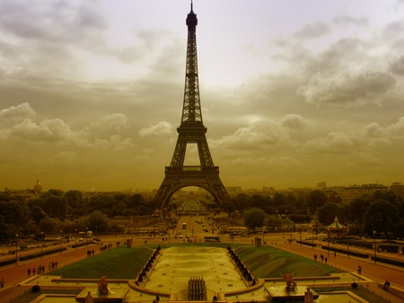 Eiffel Tower in Paris on a Cloudy Day, France photo