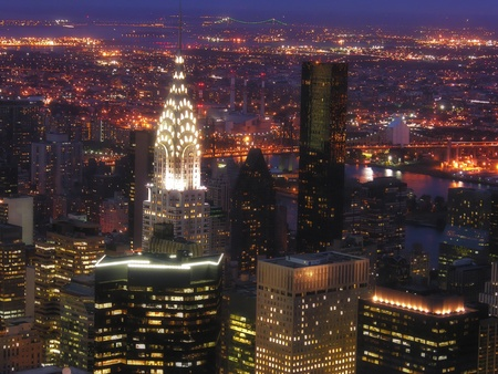 empire state building: Night View of New York City from Empire State Building Stock Photo