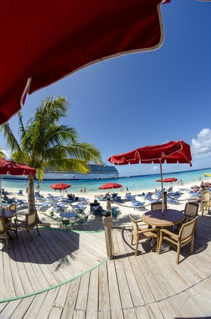 Deckchairs and Umbrellas on a beautiful Caribbean Beach Stock Photo - 13386324