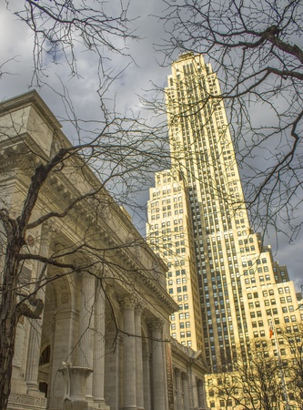 New York Public Library and Surrounding Skyscrapers, U.S.A. Stock Photo - 13386326