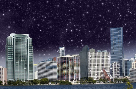 Starry Night above Miami Skyscrapers Stock Photo - 13422941