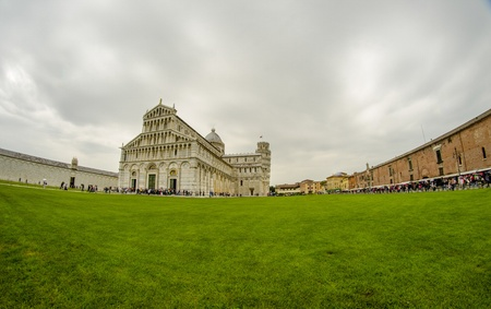miracle square: Cathedral, Baptistery and Tower of Pisa in Miracle square, Italy Stock Photo