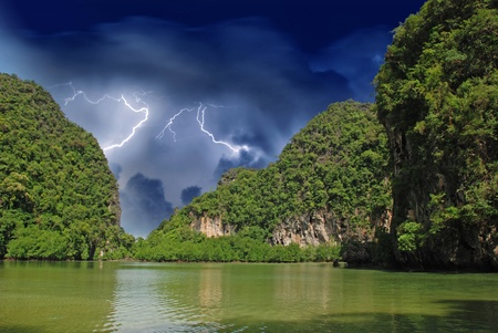 Vegetation over Giant Thailand Rocks, Asia Stock Photo
